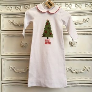 NWT MUD PIE 1st Christmas gown button bottom